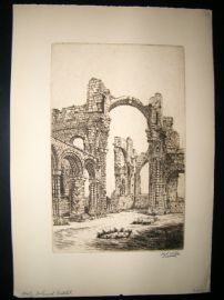 Harry George Webb C1900 Folio Signed Etching. Holy Island Cathedral, Lindisfarne